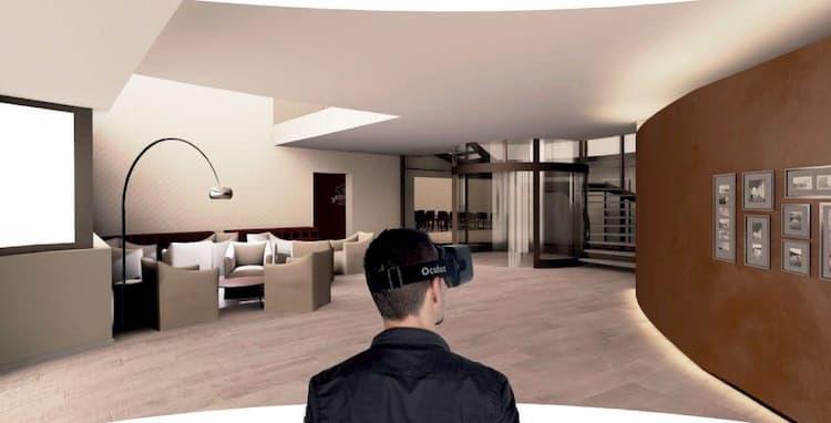 1 người đàn ông dùng VR để quan sát ngôi nhà
